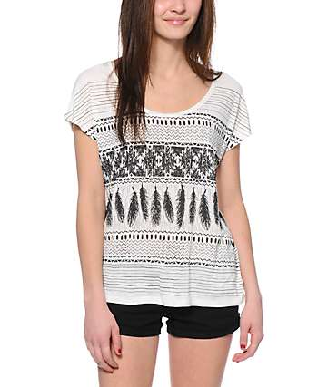 Empyre Lara Feather Print Cream Cage Back Dolman Top