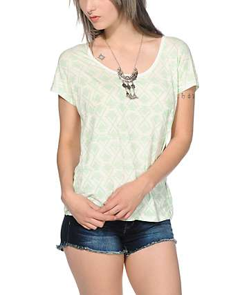 Empyre Lara Mint Tribal Cage Back Dolman Top
