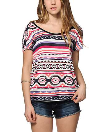 Empyre Lara Multi Tribal Cage Back Dolman Top