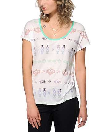 Empyre Lara Tribal Print Cage Back Dolman Top