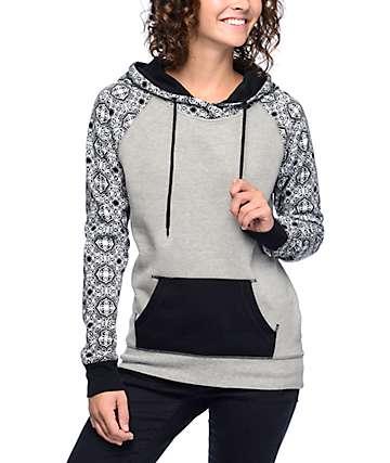 Empyre Larissa Pattern Grey & Black Hoodie
