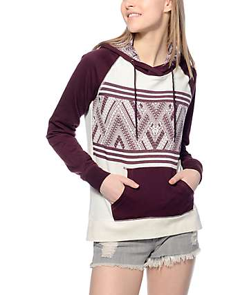 Empyre Larissa White & Blackberry Chevron Hoodie