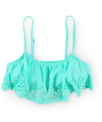 Empyre Laser Buzz Mint Flounce Bathing Suit Top