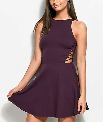 Empyre Laural Burgundy Skater Dress