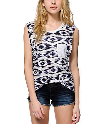 Empyre Lauryn Blue Ikat Muscle Tank Top
