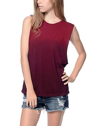Empyre Lauryn Cool Pocket Burgundy Muscle Tank Top