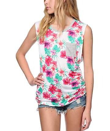 Empyre Lauryn Hawaiian Floral Muscle Tank Top