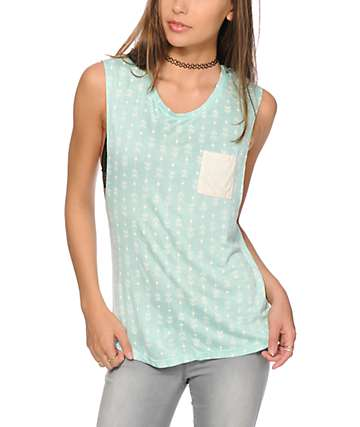 Empyre Lauryn Mint Arrows Muscle Tank Top