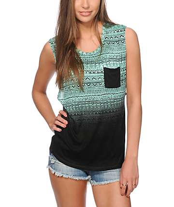 Empyre Lauryn Mint Tribal Dip Dye Muscle Tee