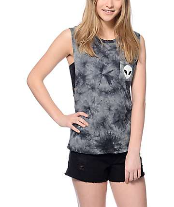 Empyre Lauryn Tie Dye Alien Pocket Muscle Tank Top