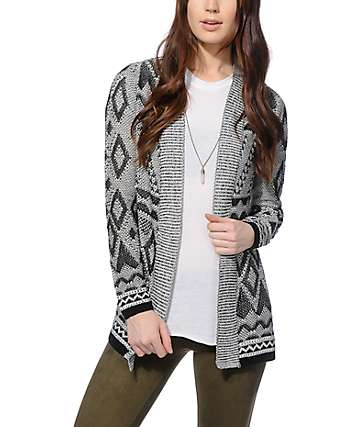 Empyre Leanne Black & White Textured Cardigan