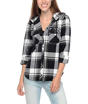Empyre Lenox Grey & White Plaid Hooded Flannel