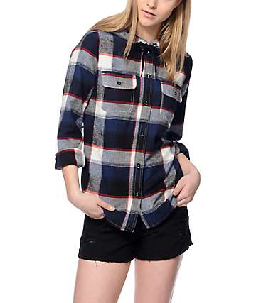 Empyre Lenox Navy, Black, Red & White Hooded Flannel
