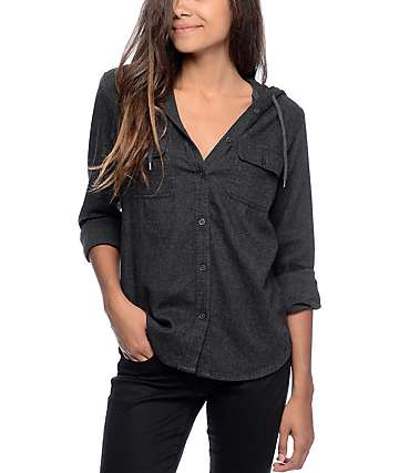 Empyre Lenox camisa de franela con capucha en color carbón