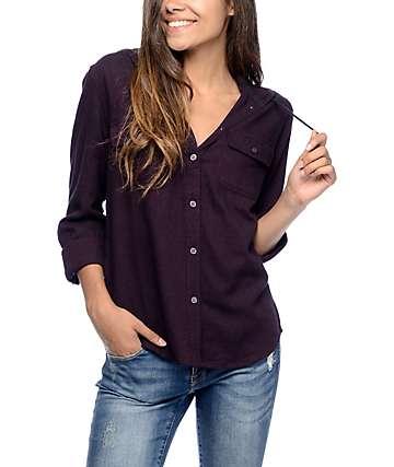 Empyre Lenox camisa de franela con capucha en color mora