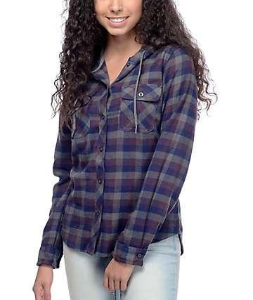 Empyre Lenox camisa de franela en gris, azul marino y color mora