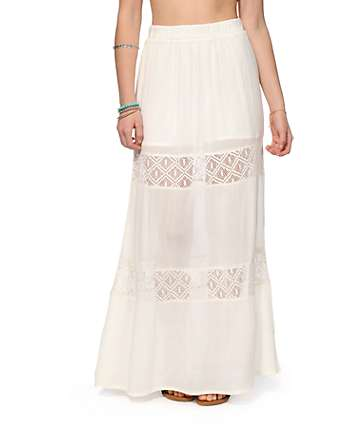 Empyre Lettie Cream Crochet Inset Maxi Skirt