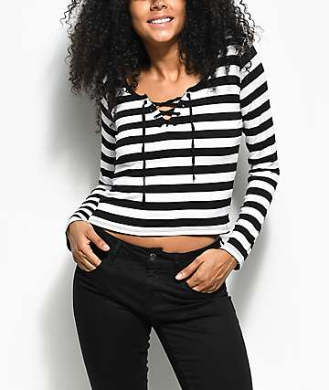 Empyre Lola Black & White Stripe Long Sleeve T-Shirt