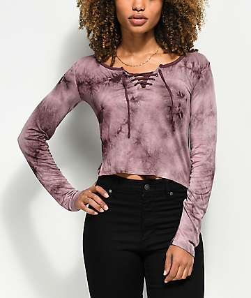 Empyre Lola Lace Up Purple Tie Dye Long Sleeve Shirt