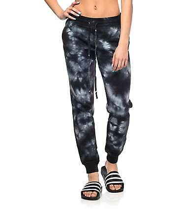 Empyre Louisa pantalones joggers con efecto tie dye en negro