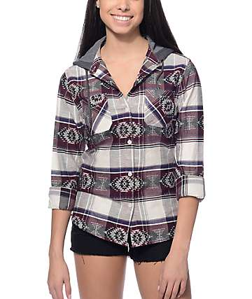 Empyre Lucia Blackberry, Black & Navy Jacquard Hooded Shirt