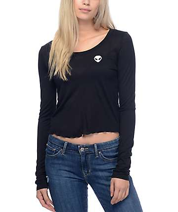 Empyre Lykke Alien Black Cropped Long Sleeve Top