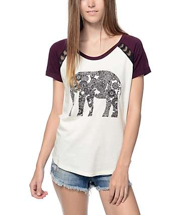 Empyre Mabel White & Blackberry Elephant Raglan T-Shirt
