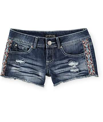 Empyre Malia Embroidered Dark Wash Denim Shorts