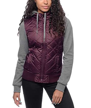 Empyre Mariel Burgundy & Charcoal Quilted Hooded Vest Jacket