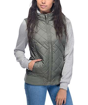 Empyre Mariel Olive Quilted Hooded Vest Jacket