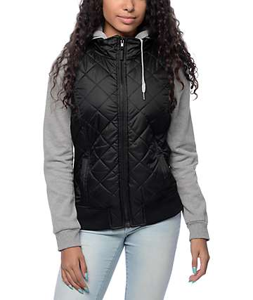 Empyre Mariel Quilted Black & Grey Hooded Vest Jacket