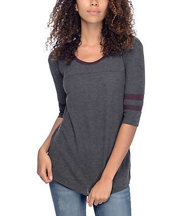 Empyre Marna Grey & Blackberry Knit Shirt