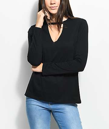 Empyre Matea Black Long Sleeve Choker Top
