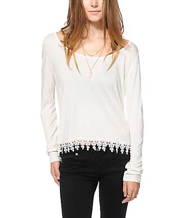 Empyre Mateo Cream Crochet Trim Top