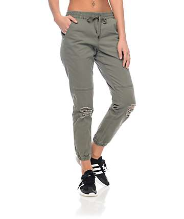 Empyre Mattia Olive Destructed Twill Jogger Pants
