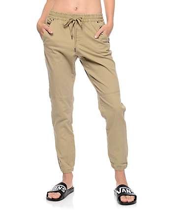 Empyre Mattia pantalones jogger caqui de tela asargada