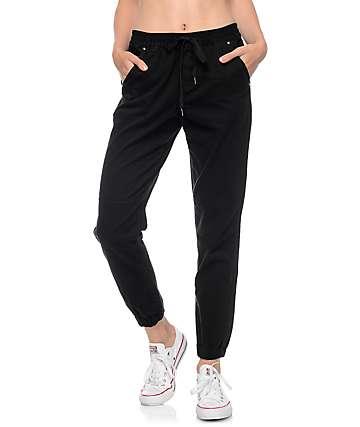 Empyre Mattia pantalones jogger negro tela asargada