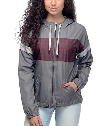 Empyre Mattie Grey & Burgundy Tribal Lined Windbreaker Jacket