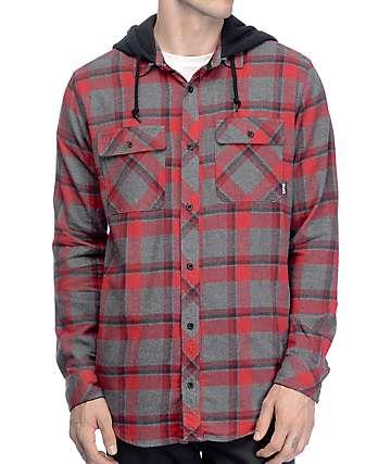Empyre Max camisa de franela con capucha en rojo, gris y negro