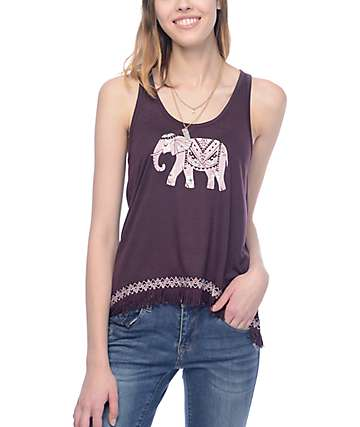 Empyre McGraw Elephant Crochet Burgundy Tank Top