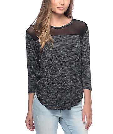 Empyre Meagan Colorblock Grey Top