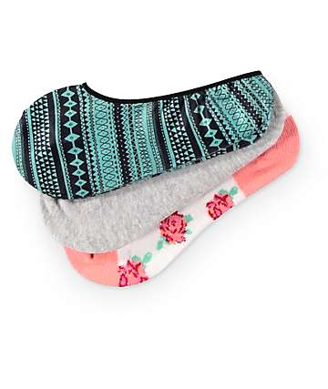 Empyre Melanie Floral & Tribal 3 Pack No Show Socks
