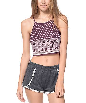 Empyre Mele Elephant Print Blackberry Crop Tank Top