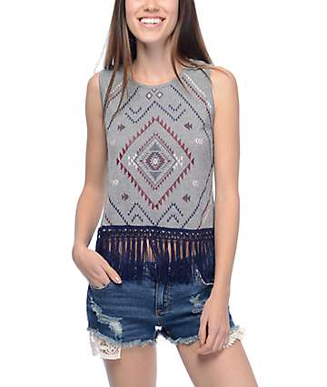Empyre Meridith Tribal Fringe Charcoal Tank Top