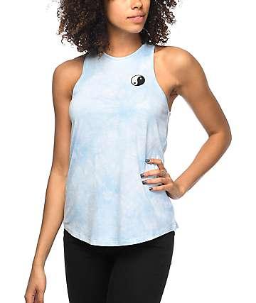 Empyre Merilee camiseta sin mangas con efecto tie dye en azul claro