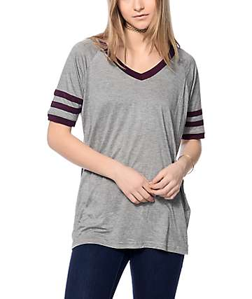 Empyre Mesa Grey & Blackberry V-Neck T-Shirt