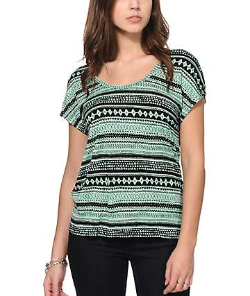Empyre Meyer Mint Tribal Dolman Top