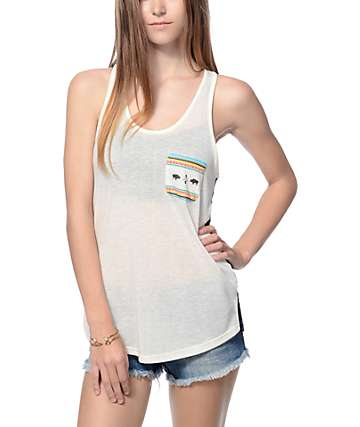 Empyre Micah Cream Buffalo Tribal Pocket Lace Back Tank