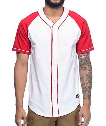 Empyre Mickey jersey de béisbol en blanco y rojo