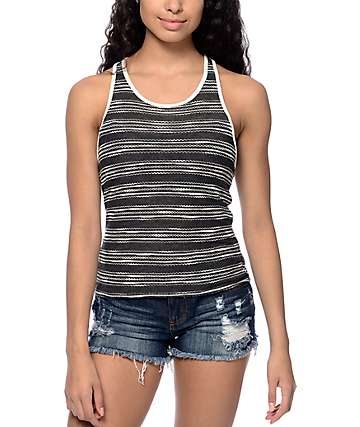 Empyre Miffy Stripe Crop Black Tank Top